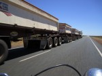 Passing a road train - count the trailers